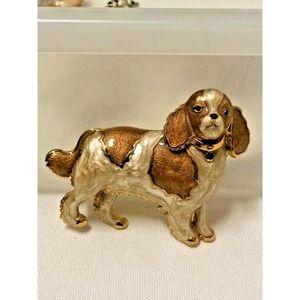 Cocker Spaniel Enameled Dog Brooch CT - Tan Brown